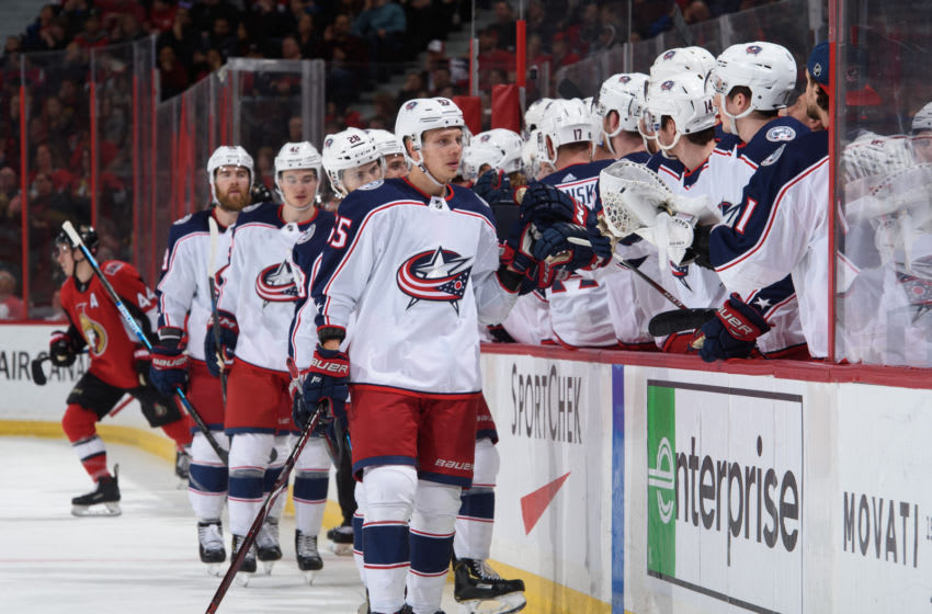 OTTAWA, ON - APRIL 6: Markus Nutivaara #65 high fives the bench after scoring a first period against the Ottawa Senators the Columbus Blue Jackets at Canadian Tire Centre on April 6, 2019 in Ottawa, Ontario, Canada. (Photo by Andrea Cardin/NHLI via Getty Images)
