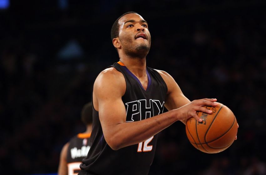 Jan 29, 2016; New York, NY, USA; Phoenix Suns forward T.J. Warren (12) shoots a free throw during the second quarter against the New York Knicks at Madison Square Garden. Mandatory Credit: Anthony Gruppuso-USA TODAY Sports