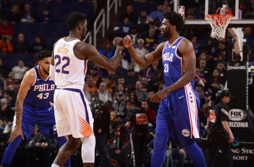 Phoenix Suns Deandre Ayton Joel Embiid (Photo by Barry Gossage/NBAE via Getty Images)