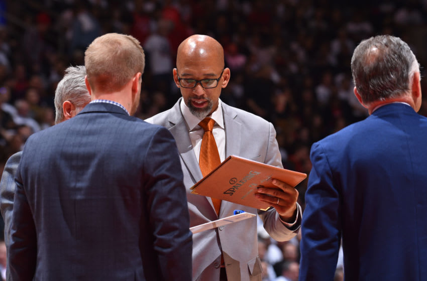 TORONTO, CANADA - APRIL 29: Assistant Coach Monty Williams of the Philadelphia 76ers looks on against the Toronto Raptors during Game Two of the Eastern Conference Semifinals of the 2019 NBA Playoffs on April 29, 2019 at Scotiabank Arena in Toronto, Ontario, Canada. NOTE TO USER: User expressly acknowledges and agrees that, by downloading and/or using this photograph, user is consenting to the terms and conditions of the Getty Images License Agreement. Mandatory Copyright Notice: Copyright 2019 NBAE (Photo by Jesse D. Garrabrant/NBAE via Getty Images)