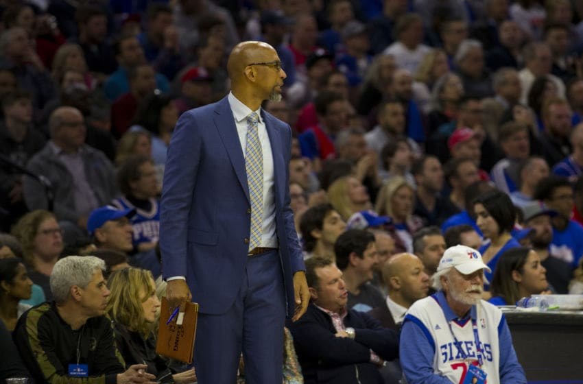 PHILADELPHIA, PA - APRIL 15: Assistant coach Monty Williams of the Philadelphia 76ers looks on against the Brooklyn Nets in Game Two of Round One of the 2019 NBA Playoffs at the Wells Fargo Center on April 15, 2019 in Philadelphia, Pennsylvania. NOTE TO USER: User expressly acknowledges and agrees that, by downloading and or using this photograph, User is consenting to the terms and conditions of the Getty Images License Agreement. (Photo by Mitchell Leff/Getty Images)