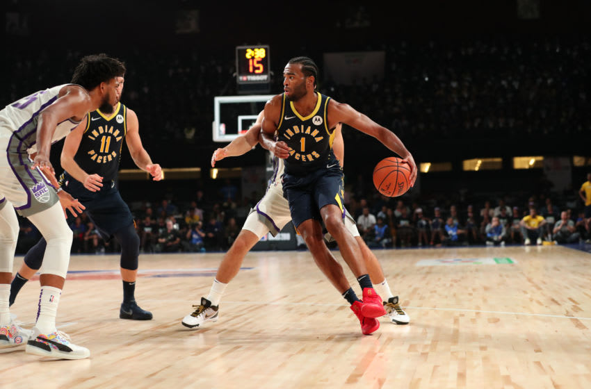 MUMBAI, INDIA - OCTOBER 4: T.J. Warren #1 of the Indiana Pacers handles the ball against the Sacramento Kings on October 4, 2019 at NSCI Dome in Mumbai, India. NOTE TO USER: User expressly acknowledges and agrees that, by downloading and or using this photograph, User is consenting to the terms and conditions of the Getty Images License Agreement. Mandatory Copyright Notice: Copyright 2019 NBAE (Photo by Joe Murphy/NBAE via Getty Images)