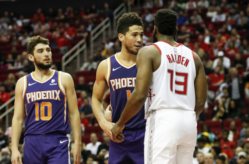 Devin Booker, James Harden, Phoenix Suns (Photo by Tim Warner/Getty Images)