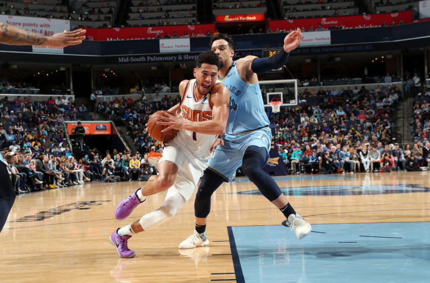 MEMPHIS, TN - JANUARY 26: Devin Booker #1 of the Phoenix Suns drives to the basket during the game against the Memphis Grizzlies on January 26, 2020 at FedExForum in Memphis, Tennessee. NOTE TO USER: User expressly acknowledges and agrees that, by downloading and or using this photograph, User is consenting to the terms and conditions of the Getty Images License Agreement. Mandatory Copyright Notice: Copyright 2020 NBAE (Photo by Joe Murphy/NBAE via Getty Images)