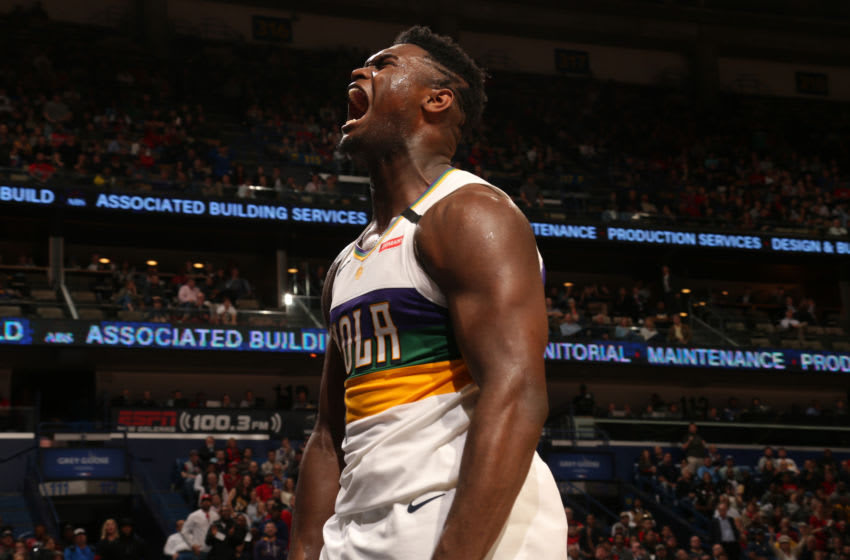 NEW ORLEANS, LA - FEBRUARY 4: Zion Williamson #1 of the New Orleans Pelicans reacts to a play during the game against the Milwaukee Bucks on February 4, 2020 at the Smoothie King Center in New Orleans, Louisiana. NOTE TO USER: User expressly acknowledges and agrees that, by downloading and or using this Photograph, user is consenting to the terms and conditions of the Getty Images License Agreement. Mandatory Copyright Notice: Copyright 2020 NBAE (Photo by Layne Murdoch Jr./NBAE via Getty Images)