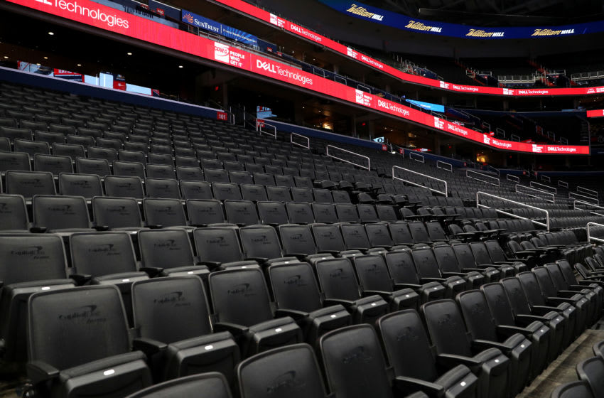 WASHINGTON, DC - MARCH 10: Seats are empty prior to the New York Knicks playing the Washington Wizards at Capital One Arena on March 10, 2020 in Washington, DC. NOTE TO USER: User expressly acknowledges and agrees that, by downloading and or using this photograph, User is consenting to the terms and conditions of the Getty Images License Agreement. (Photo by Patrick Smith/Getty Images)