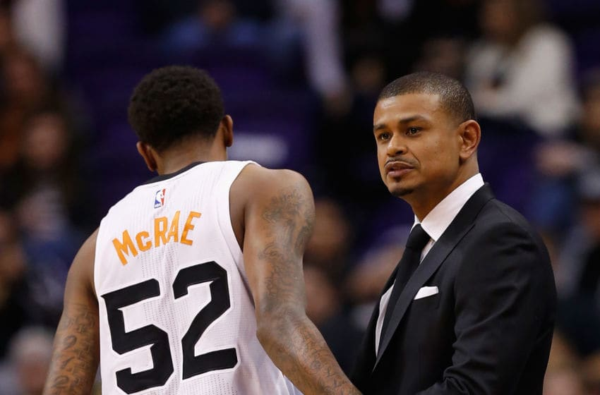 PHOENIX, AZ - FEBRUARY 02: Jordan McRae #52 and interim head coach Earl Watson of the Phoenix Suns during the NBA game against the Toronto Raptors at Talking Stick Resort Arena on February 2, 2016 in Phoenix, Arizona. NOTE TO USER: User expressly acknowledges and agrees that, by downloading and or using this photograph, User is consenting to the terms and conditions of the Getty Images License Agreement. (Photo by Christian Petersen/Getty Images)