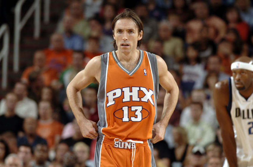 PHOENIX - NOVEMBER 1: Steve Nash #13 of the Phoenix Suns on the court against the Dallas Mavericks on November 1, 2005 at America West Arena in Phoenix, Arizona. The Mavs won 11-108 in double overtime. NOTE TO USER: User expressly acknowledges and agrees that, by downloading and or using this photograph, User is consenting to the terms and conditions of the Getty Images License Agreement. Mandatory Copyright Notice: Copyright 2005 NBAE (Photo by Barry Gossage/NBAE via Getty Images)