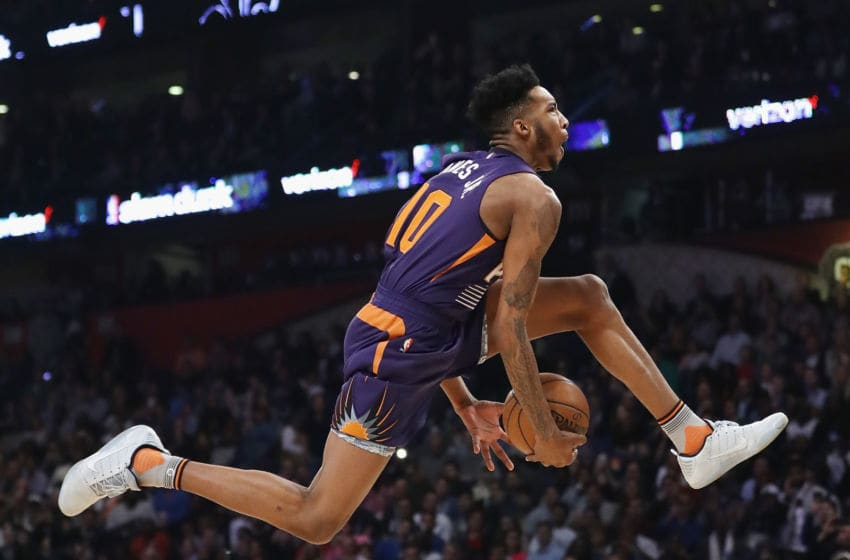 NEW ORLEANS, LA - FEBRUARY 18: Derrick Jones Jr. #10 of the Phoenix Suns competes in the 2017 Verizon Slam Dunk Contest at Smoothie King Center on February 18, 2017 in New Orleans, Louisiana. NOTE TO USER: User expressly acknowledges and agrees that, by downloading and/or using this photograph, user is consenting to the terms and conditions of the Getty Images License Agreement. (Photo by Ronald Martinez/Getty Images)