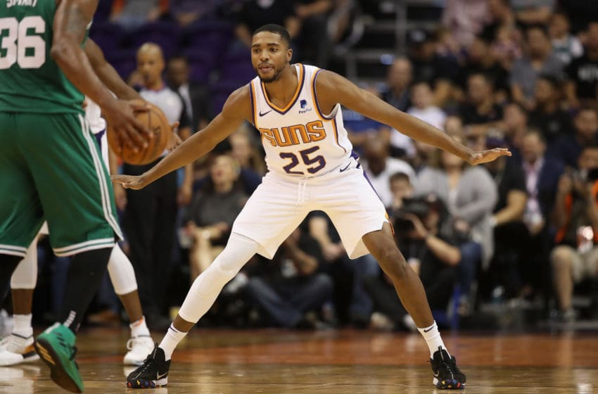 PHOENIX, AZ - NOVEMBER 08: Mikal Bridges #25 of the Phoenix Suns in action during the NBA game against the Boston Celtics at Talking Stick Resort Arena on November 8, 2018 in Phoenix, Arizona. The Celtics defeated the Suns 116-109 in overtime. NOTE TO USER: User expressly acknowledges and agrees that, by downloading and or using this photograph, User is consenting to the terms and conditions of the Getty Images License Agreement. (Photo by Christian Petersen/Getty Images)