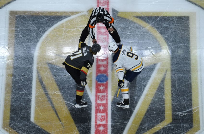 LAS VEGAS, NV - OCTOBER 16: William Karlsson #71 of the Vegas Golden Knights prepares to face-off against Jack Eichel #9 of the Buffalo Sabres during the second period of their game at T-Mobile Arena on October 16, 2018 in Las Vegas, Nevada. (Photo by Jeff Bottari/NHLI via Getty Images)