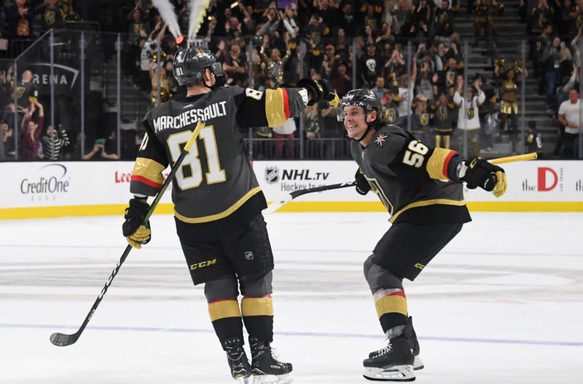 LAS VEGAS, NEVADA - OCTOBER 28: Jonathan Marchessault #81 of the Vegas Golden Knights celebrates with teammate Erik Haula #56 after Marchessault scored on a penalty shot in overtime to defeat the Ottawa Senators 4-3 during their game at T-Mobile Arena on October 28, 2018 in Las Vegas, Nevada. (Photo by Ethan Miller/Getty Images)