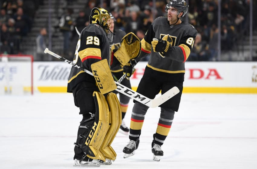 LAS VEGAS, NV - NOVEMBER 14: Alex Tuch #89 congratulates Marc-Andre Fleury #29 of the Vegas Golden Knights after the conclusion of the second period of their game against the Anaheim Ducks at T-Mobile Arena on November 14, 2018 in Las Vegas, Nevada. (Photo by Jeff Bottari/NHLI via Getty Images)