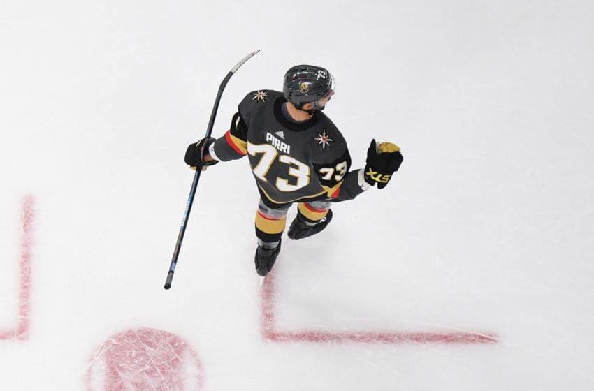 LAS VEGAS, NV - FEBRUARY 16: Brandon Pirri #73 of the Vegas Golden Knights celebrates after scoring a goal during the second period against the Nashville Predators at T-Mobile Arena on February 16, 2019 in Las Vegas, Nevada. (Photo by Jeff Bottari/NHLI via Getty Images)