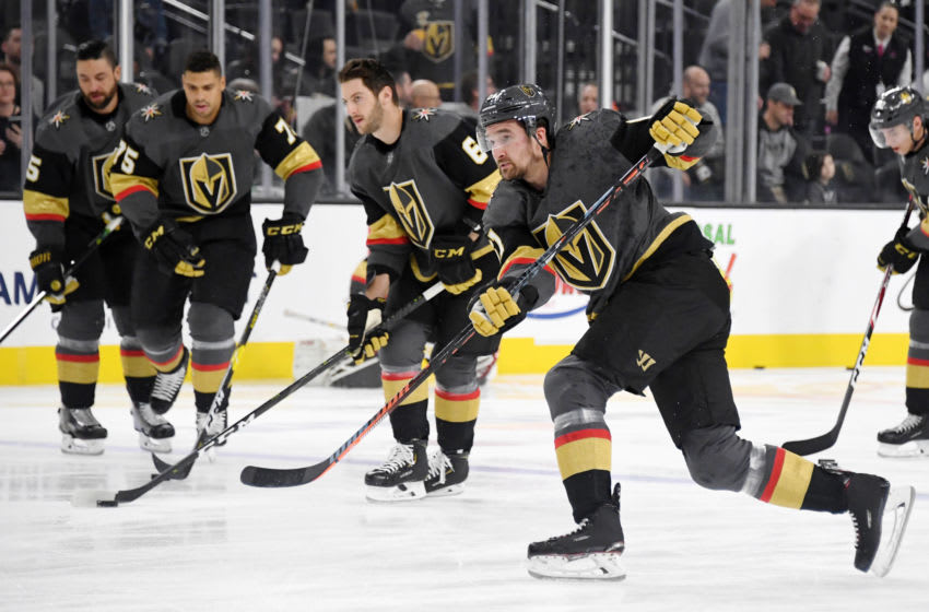 Mark Stone #61 of the Vegas Golden Knights warms up before a game against the Dallas Stars.(Photo by Ethan Miller/Getty Images)
