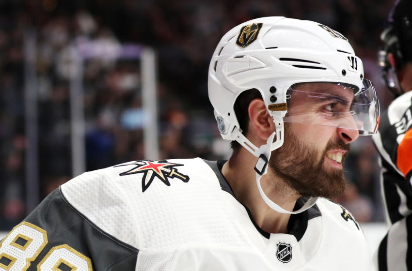 ANAHEIM, CALIFORNIA - MARCH 01: Alex Tuch #89 of the Vegas Golden Knights celebrates after scoring a goal against the Anaheim Ducks during the second period at Honda Center on March 01, 2019 in Anaheim, California. (Photo by Yong Teck Lim/Getty Images)