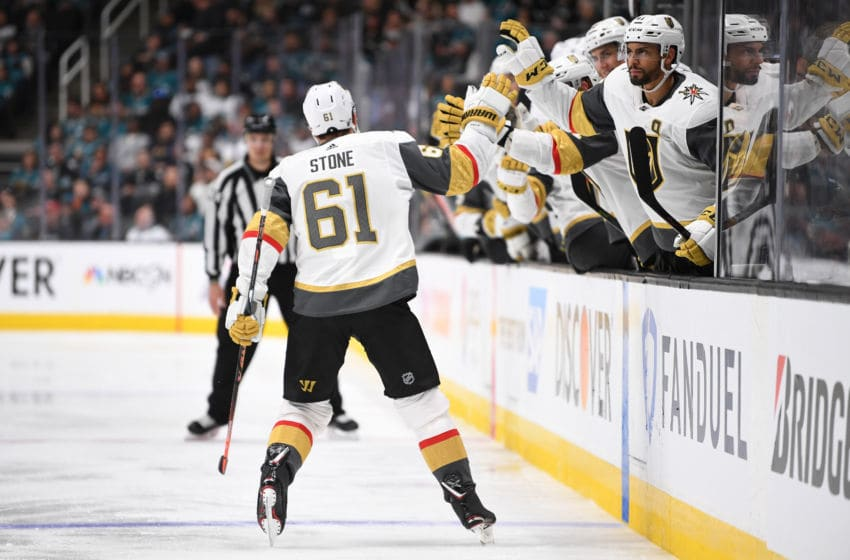 SAN JOSE, CA - APRIL 12: Mark Stone #61 of the Vegas Golden Knights celebrates after scoring a goal during the second period against the San Jose Sharks in Game Two of the Western Conference First Round during the 2019 Stanley Cup Playoffs at SAP Center on April 12, 2019 in San Jose, California. (Photo by Jeff Bottari/NHLI via Getty Images)
