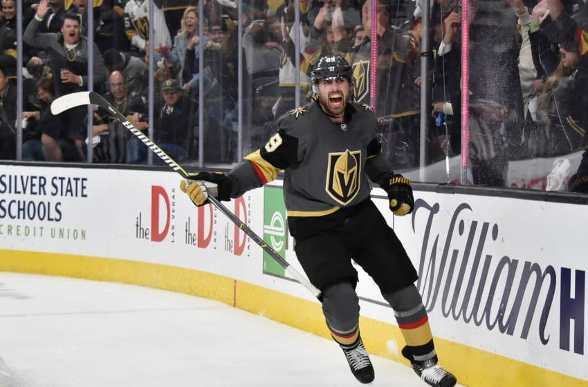 LAS VEGAS, NV - APRIL 16: Alex Tuch #89 of the Vegas Golden Knights celebrates after scoring a goal during the third period against the San Jose Sharks in Game Four of the Western Conference First Round during the 2019 NHL Stanley Cup Playoffs at T-Mobile Arena on April 16, 2019 in Las Vegas, Nevada. (Photo by David Becker/NHLI via Getty Images)
