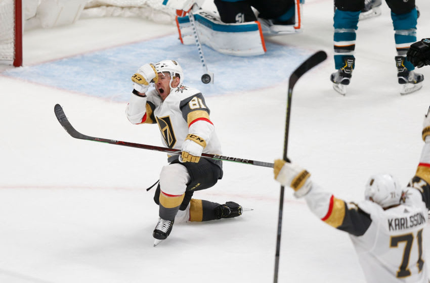 SAN JOSE, CA - APRIL 23: Jonathan Marchessault #81 of the Vegas Golden Knights celebrates a tying goal late in the third period against the San Jose Sharks in Game Seven of the Western Conference First Round during the 2019 NHL Stanley Cup Playoffs at SAP Center on April 23, 2019 in San Jose, California. (Photo by Lachlan Cunningham/Getty Images)
