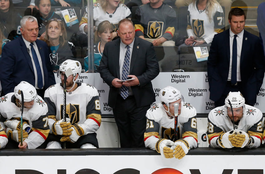 Vegas Golden Knights head coach Gerard Gallant looks on from the bench. (Photo by Lachlan Cunningham/Getty Images)
