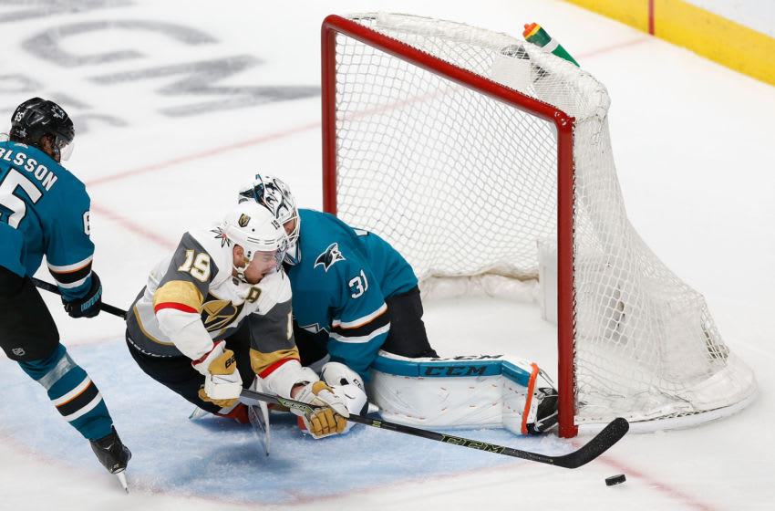Reilly Smith #19 of the Vegas Golden Knights attempts to score. (Photo by Lachlan Cunningham/Getty Images)