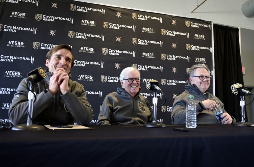 LAS VEGAS, NEVADA - MAY 02: (L-R) Vegas Golden Knights President of Hockey Operations George McPhee, Vegas Golden Knights owner Bill Foley and Vegas Golden Knights General Manager Kelly McCrimmon attend a news conference announcing McCrimmon's promotion to general manager at City National Arena on May 02, 2019 in Las Vegas, Nevada. (Photo by David Becker/NHLI via Getty Images)