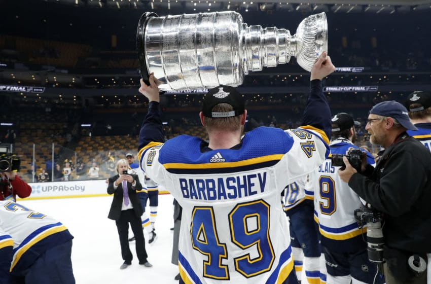 BOSTON, MA - JUNE 12: St. Louis Blues center Ivan Barbashev (49) holds the Cup after Game 7 of the Stanley Cup Final between the Boston Bruins and the St. Louis Blues on June 12, 2019, at TD Garden in Boston, Massachusetts. (Photo by Fred Kfoury III/Icon Sportswire via Getty Images)