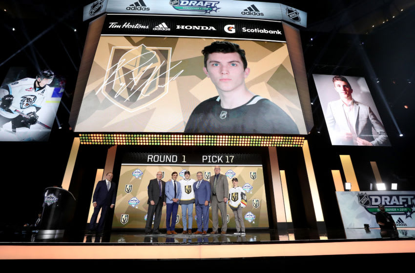 Peyton Krebs reacts after being selected seventeenth overall by the Vegas Golden Knights during the first round of the 2019 NHL Draft. (Photo by Bruce Bennett/Getty Images)