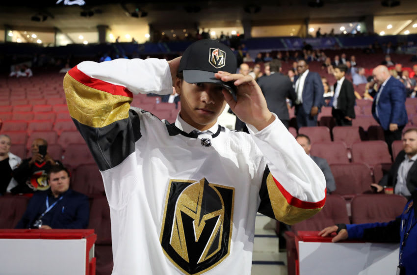 VANCOUVER, BRITISH COLUMBIA - JUNE 22: Marcus Kallionkieli reacts after being selected 139th overall by the Vegas Golden Knights during the 2019 NHL Draft at Rogers Arena on June 22, 2019 in Vancouver, Canada. (Photo by Bruce Bennett/Getty Images)