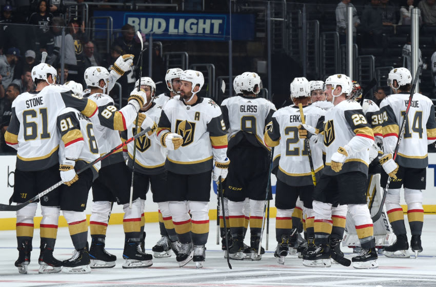 LOS ANGELES, CA - SEPTEMBER 19: The Vegas Golden Knights celebrate their 3-2 overtime win over the Los Angeles Kings at STAPLES Center on September 19, 2019 in Los Angeles, California. (Photo by Juan Ocampo/NHLI via Getty Images)