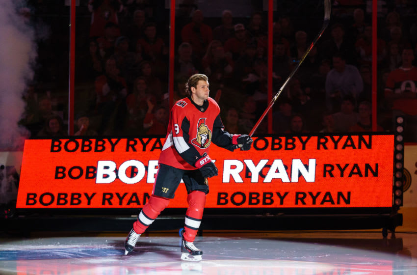 Bobby Ryan #9 of the Ottawa Senators steps onto the ice during player introductions. (Photo by Jana Chytilova/Freestyle Photography/Getty Images)