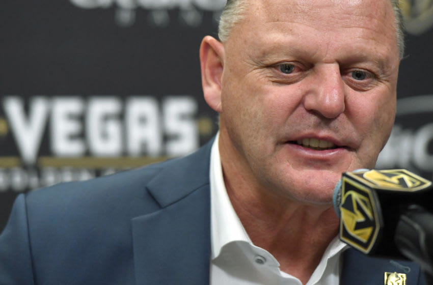 Head coach Gerard Gallant of the Vegas Golden Knights takes questions during a news conference. (Photo by Ethan Miller/Getty Images)
