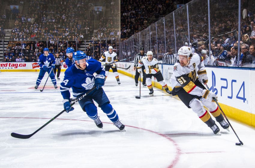 TORONTO, ON - NOVEMBER 07: Mark Stone #61 of the Vegas Golden Knights skates against Tyson Barrie #94 of the Toronto Maple Leafs during the second period at the Scotiabank Arena on November 7, 2019 in Toronto, Ontario, Canada. (Photo by Mark Blinch/NHLI via Getty Images)
