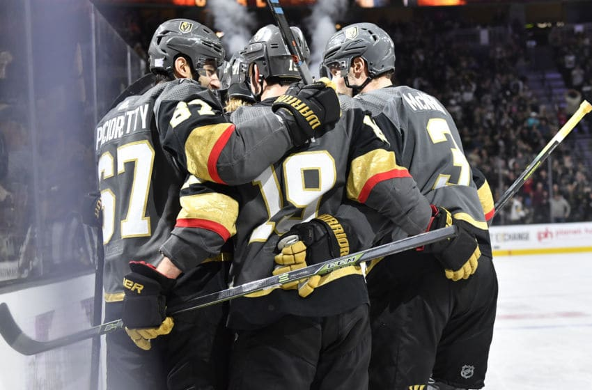 LAS VEGAS, NEVADA - NOVEMBER 17: The Vegas Golden Knights celebrate after a goal by William Karlsson #71 during the first period against the Calgary Flames at T-Mobile Arena on November 17, 2019 in Las Vegas, Nevada. (Photo by Jeff Bottari/NHLI via Getty Images)