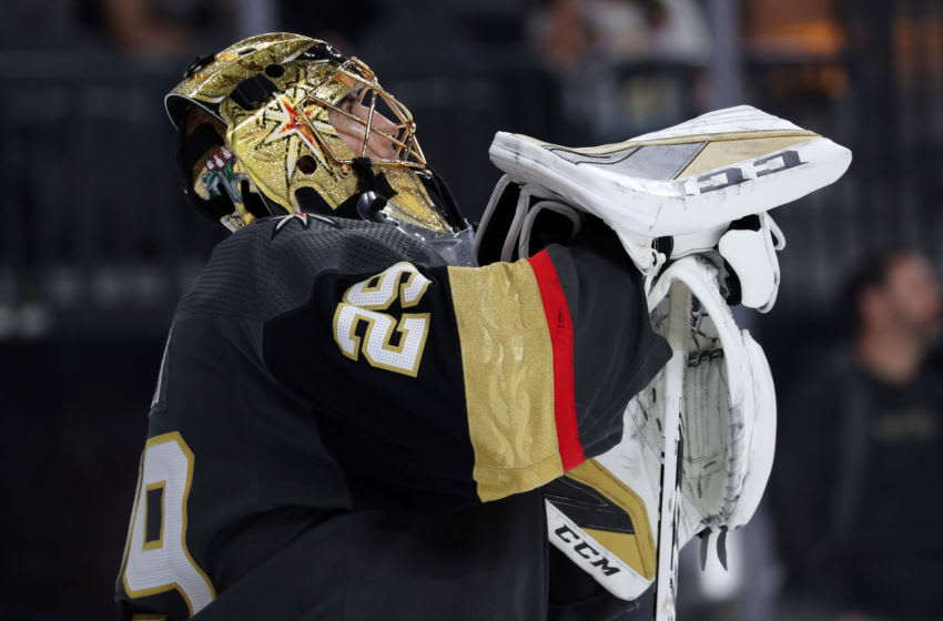 LAS VEGAS, NEVADA - NOVEMBER 17: Marc-Andre Fleury #29 of the Vegas Golden Knights stands in net during the third period against the Calgary Flames at T-Mobile Arena on November 17, 2019 in Las Vegas, Nevada. (Photo by Zak Krill/NHLI via Getty Images)