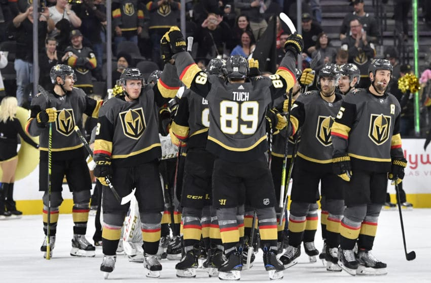 LAS VEGAS, NEVADA - NOVEMBER 17: The Vegas Golden Knights celebrate after defeating the Calgary Flames at T-Mobile Arena on November 17, 2019 in Las Vegas, Nevada. (Photo by Jeff Bottari/NHLI via Getty Images)