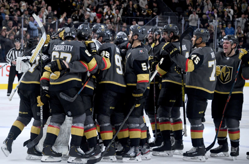 The Vegas Golden Knights celebrate their 2-1 shootout victory over the Arizona Coyotes. (Photo by Ethan Miller/Getty Images)