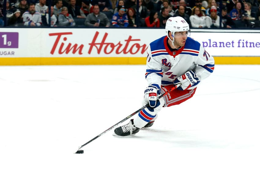 COLUMBUS, OH - DECEMBER 5: Tony DeAngelo #77 of the New York Rangers controls the puck during the game against the Columbus Blue Jackets on December 5, 2019 at Nationwide Arena in Columbus, Ohio. (Photo by Kirk Irwin/Getty Images)