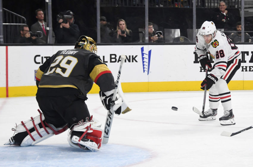 Marc-Andre Fleury #29 of the Vegas Golden Knights blocks a shot by Patrick Kane #88 of the Chicago Blackhawks. (Photo by Ethan Miller/Getty Images)