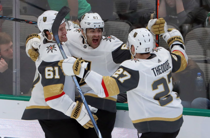Max Pacioretty #67 of the Vegas Golden Knights celebrates with Mark Stone #61 and Shea Theodore #27. (Photo by Tom Pennington/Getty Images)
