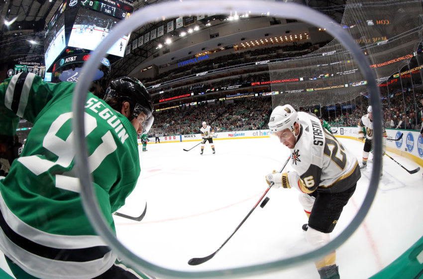 DALLAS, TEXAS - DECEMBER 13: Tyler Seguin #91 of the Dallas Stars battles Paul Stastny #26 of the Vegas Golden Knights for the puck in the first period at American Airlines Center on December 13, 2019 in Dallas, Texas. (Photo by Tom Pennington/Getty Images)