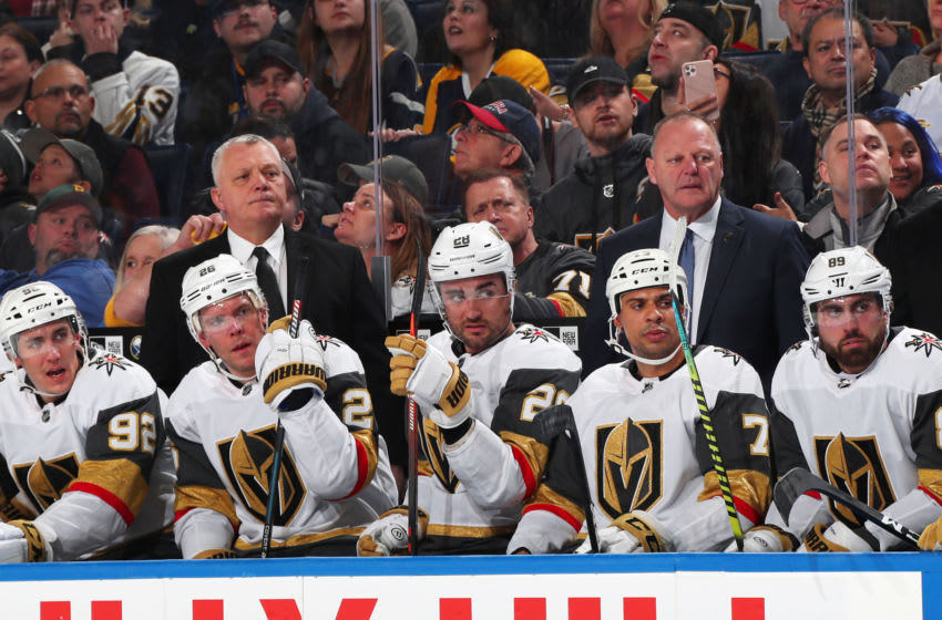 BUFFALO, NY - JANUARY 14: Vegas Golden Knights assistant coach Mike Kelly (L) and head coach Gerard Gallant (R) watch the action during an NHL game against the Buffalo Sabres on January 14, 2020 at KeyBank Center in Buffalo, New York. Buffalo won, 4-2.(Photo by Bill Wippert/NHLI via Getty Images)