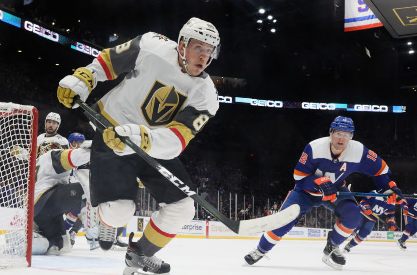 Nate Schmidt #88 of the Vegas Golden Knights skates against the New York Islanders. (Photo by Bruce Bennett/Getty Images)