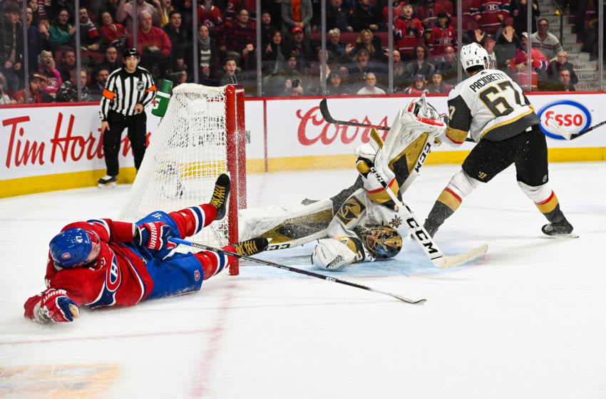 MONTREAL, QC - JANUARY 18: Las Vegas Golden Knights goalie Marc-Andre Fleury (29) makes an acrobatic save over Montreal Canadiens left wing Ilya Kovalchuk (17) during the Las Vegas Golden Knights versus the Montreal Canadiens game on January 18, 2020, at Bell Centre in Montreal, QC (Photo by David Kirouac/Icon Sportswire via Getty Images)