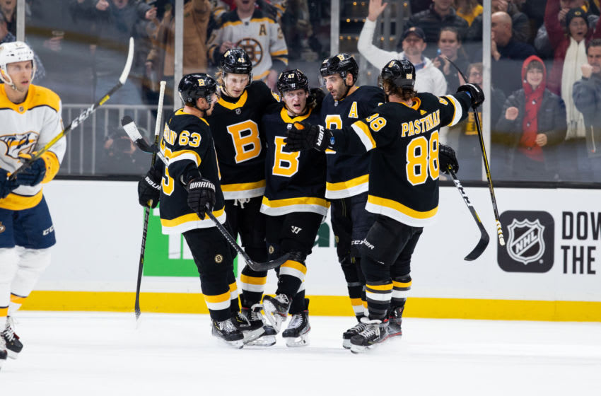 Patrice Bergeron #37 of the Boston Bruins celebrates his goal. (Photo by Rich Gagnon/Getty Images)