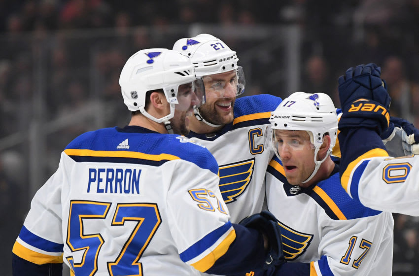 LOS ANGELES, CALIFORNIA - DECEMBER 23: Alex Pietrangelo #27 of the St. Louis Blues celebrates his power play goal with Jaden Schwartz #17 and David Perron #57, to take a 2-0 lead over the Los Angeles Kings, during the first period at Staples Center on December 23, 2019 in Los Angeles, California. (Photo by Harry How/Getty Images)