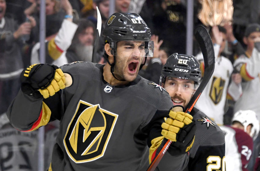 Max Pacioretty #67 and Chandler Stephenson #20 of the Vegas Golden Knights celebrate. (Photo by Ethan Miller/Getty Images)