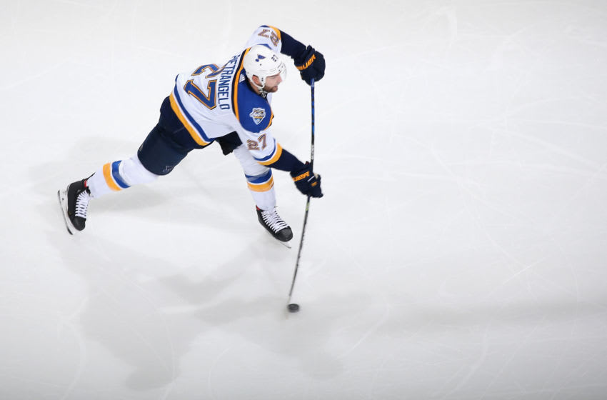 Alex Pietrangelo #27 of the St. Louis Blues shoots the puck. (Photo by Christian Petersen/Getty Images)