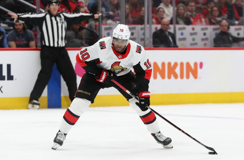Anthony Duclair #10 of the Ottawa Senators in action against the Washington Capitals. (Photo by Patrick Smith/Getty Images)