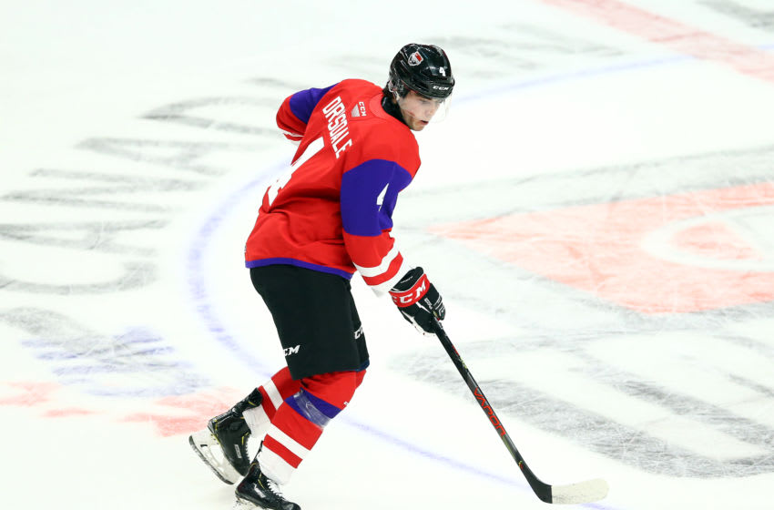 HAMILTON, ON - JANUARY 16: Jamie Drysdale #4 of Team Red skates during the 2020 CHL/NHL Top Prospects Game against Team White at FirstOntario Centre on January 16, 2020 in Hamilton, Canada. (Photo by Vaughn Ridley/Getty Images)